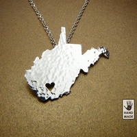 WEST VIRGINIA , fine silver FS .999 State Necklace ,sterling  silver chain, custom heart