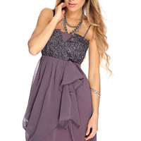 Plum Sequin/Ruffle Detail Party Dress