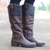 Ivelia Riding Boots {Dk. Brown + Black}