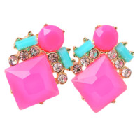 Neon Pink and Aqua Statement Stud Earrings