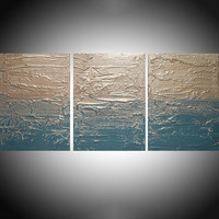 affordable ART triptych 3 panel wall modern turquoise metal silver home decor office interior on canvas original painting abstract 27 x 12""