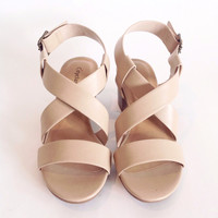 Nude Wide Strap Low Chunky Heels