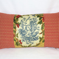 Waverly Yellow Chicken Toile Pillow In Saison de Printemps, Rooster, Reversible Gingham Check, 11 x 20 rectangle lumbar, Insert  Included