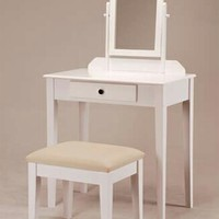 White finish wood 3 pc bedroom vanity set with mirror and stool