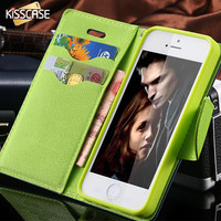 KISSCASE For iPhone 4S Cases New Hit Color Leather Ultra Flip Case For iPhone 4 4S 4G Card Holder Stand Cover Mobile Phone Bag