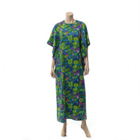Vintage 70s Mod Daisies Caftan Dress 1970s Angel Wing Daisy Flower Power Boho Hippie Hawaiian Bark Cloth Floral Muumuu Tiki Party Maxi