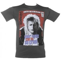 Men's Charcoal Your Eyes Can Be So Cruel Bowie Labyrinth T-Shirt : TruffleShuffle.com