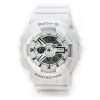 Casio BA110-7A3 Women's Baby-G Analog-Digital White Resin Strap Watch
