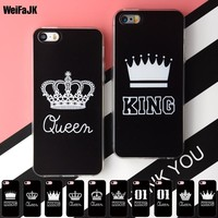 Cool WeiFaJK Soft Phone Case for iPhone 5 5s Cases for iPhone 6 6s Valentine Queen KING TPU Silicone Cover for iPhone 7 8 Plus X CaseAT_93_12