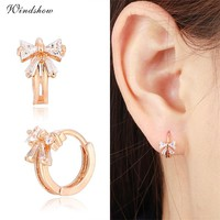 Cute Gold Color Bowknot w/ CZ Crystals Round Circle Huggies Small Hoop Earrings for Women Children Girls Baby Kids Jewelry Aros