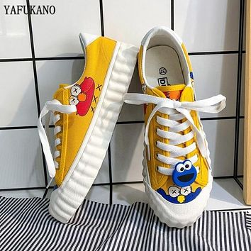 2020 New Women Casual Shoes INS Fashion New Female Yellow Cartoon Animation Vulcanized Sneakers Lace Up Canvas Shoes Woman