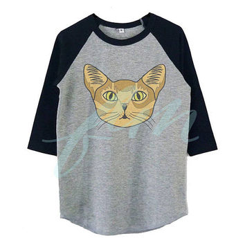 Abyssinian cat tshirt Meow raglan shirt for kids toddlers boys girls tops Baby clothes