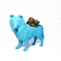 Up-cycled OOAK Turquoise Blue Collie Dog Planter - With Succulent Plant
