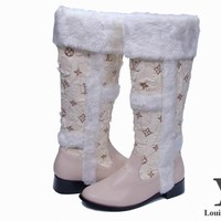 LV Louis Vuitton Fashion Fur Leather High Boot Heels Shoes