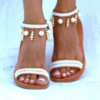 Moonlight Bride sandals, White Beach Wedding Sandals, Pearl sandals, Greek Sandal, barefoot sandal, Genuine leather shoes, Summer shoes