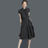 Short Sleeve Stripe Jumpsuit Women 2016 Summer New Fashion Ladies Wide Leg Jumpsuits Free Shipping