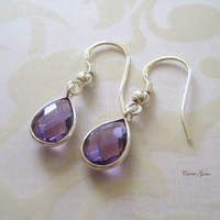 Amethyst Earrings, Purple Earrings, Bridesmaid Gifts, Gemstone Earrings, Feb Birthstone Jewerly