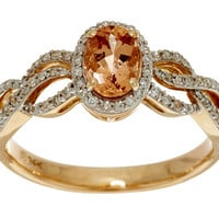 Oval Imperial Topaz & Pave' Diamond Ring 14K Gold 0.75 ct — QVC.com
