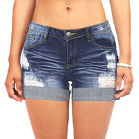 Crash Cuffed Denim Shorts