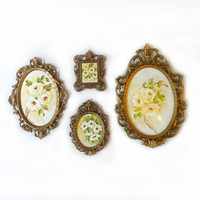 Vintage set original yellow roses flower watercolour paintings in baroque style ornate metal frames, miniature country rose paintings
