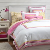 Ribbon Stripe Duvet Cover + Sham, Warm