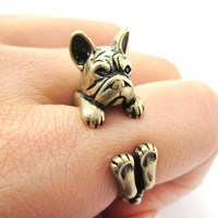 Realistic French Bulldog Dog Shaped Animal Wrap Around Ring in Brass   US Sizes 4 to 8.5
