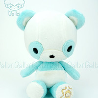 "Bellzi® Cute ""Teal"" w/ White Contrast Panda Stuffed Animal Plush - Pandi - Made in USA"