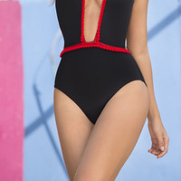 Plunging Black and Red Swimsuit