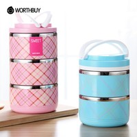 WORTHBUY Creative Stainless Steel Lovers Lunch Boxs Leak-Proof Thermal Bento Box Container For Food Storage Kids Couples Gifts