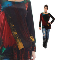 Velvet shirt 90s Grunge abstract red copper color block tunic Scoop neck long sleeve Vintage 1990s Party Medium