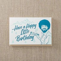 Happy Little Birthday Bob Ross Birthday Card