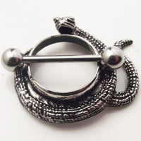 2piece Stainless Steel Sexy Snake Nipple Ring Shield Rings Body Piercing Jewelry Animal Mamilo Rings Barbell Rings Women