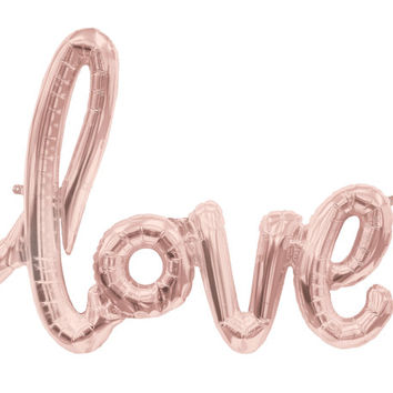 Love Letter Balloons / Wedding / Birthday Party / Baby / Bridal Shower / Cursive / Calligraphy Script / Champagne Rose Gold / Photo Shoot