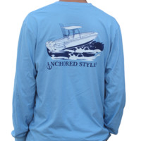 Anchored Style Long Sleeve Angler T-Shirt - Baby Blue