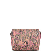 Snake-Print Leather Wallet Clutch Bag, Fuchsia Multi - Halston