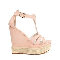 Faith Baby Pink High Wedge T Bar Sandals
