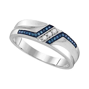 Sterling Silver Men's Round Blue Color Enhanced Diamond Wedding Band 1/5 Cttw - FREE Shipping (US/CAN)