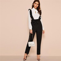 Office Lady Belted Button Fly Pants With Ruffle Straps Women Solid Long Trousers Straight Leg Pants
