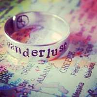wanderlust  wrapped  aluminum ring