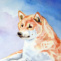 Red and White Shiba Inu Flag Canvas House Size