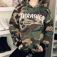 Street camouflage hooded fleece thrasher who men and women Camouflage white letters -1