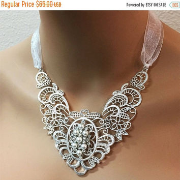 Bridal jewelry, wedding jewelry, bridal necklace, Victorian necklace, bridal statement, pearl necklace, crystal necklace, formal jewelry