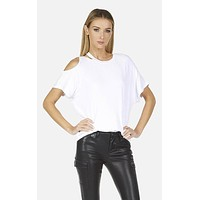 Columbus Cold Shoulder Tee White