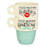Good Morning Beautiful, Handsome... His & Hers Stacked Mug Set of 2