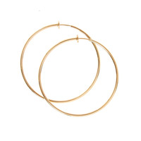 60MM Gold-tone Spring Clip Hoop Earrings