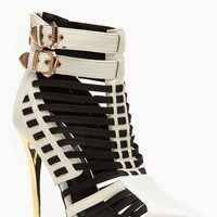 Wild Rose Silver Envy Caged Pointed Booties