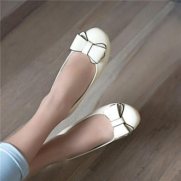Round Toe Patent Lether Bow Women Flats Dance Shoes 4920