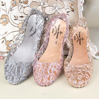 Sparkling Crystal Jelly Women Sandals
