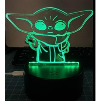 Laser Cut and Engraved Baby Yoda The Child Grogu 3D Acrylic LED Light Lamp