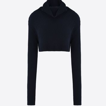 Valentino Cropped Ribbed Knit With High Neck, Knitwear Shirts And Tops for Women - Valentino Online Boutique